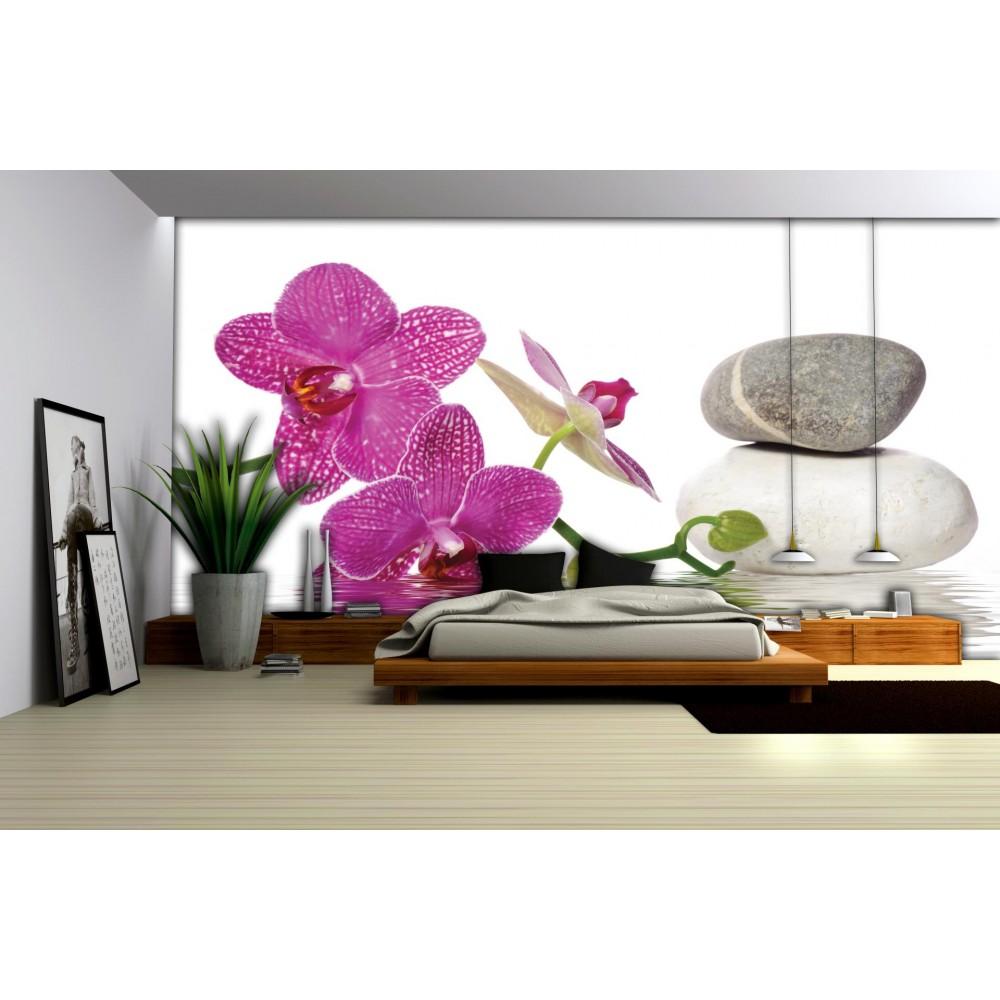 fototapet pietre spa cu orhidee 652. Black Bedroom Furniture Sets. Home Design Ideas